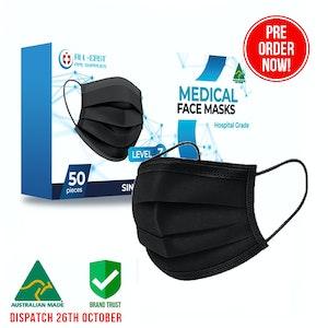 PRE ORDER - Australian Made Surgical Face Masks Level 3 - Black
