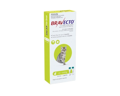 BRAVECTO Spot On for Cats 1.2 - 2.8kg 2 Pack Green