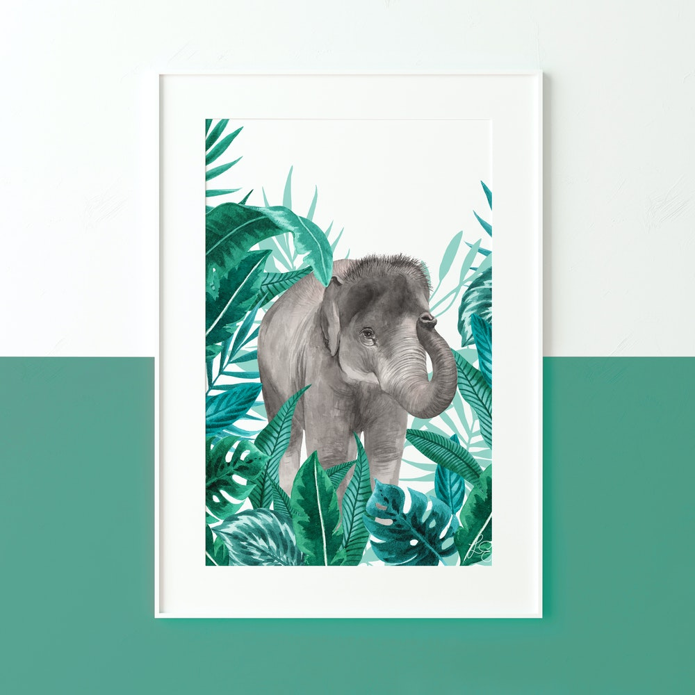 Laura Elizabeth Illustrations Elephant Fine Art Print