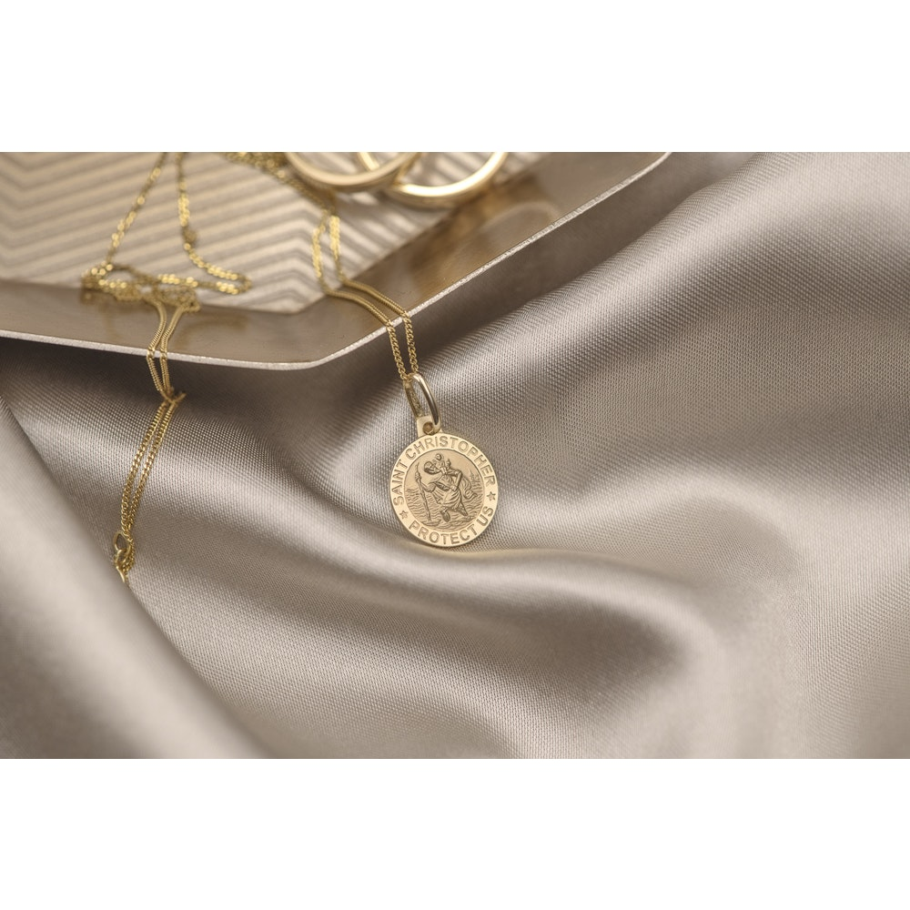 Jessica Alice Jewellery 9ct Solid Gold St Christopher Pendant
