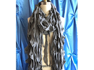 Spliced Eco Fashion Fashion Statement Scarf. Handmade recycled cotton weave fabric.