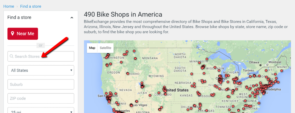 BikeExchange Search Stores