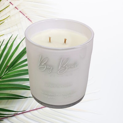Bay Beach and Beyond Lychee & Guava Double Wick White & Silver Candle
