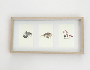 """Art'N Green Cute animals Watercolor Prints on handmade paper. Frame collage 8x16"""" Oak look included."""