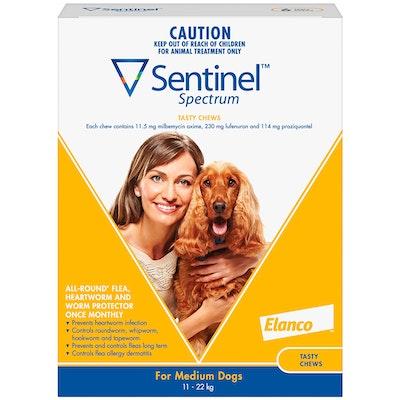 Sentinel Spectrum Medium Dogs Flea Treatment Tasty Chews Yellow - 2 Sizes