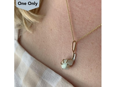 Gold raw opal pendant