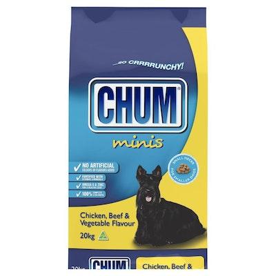Chum Crunchy Minis Dry Dog Food Chicken Beef & Vegetable 20kg