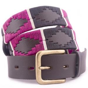Pioneros Belt Black, Berry, White Stripe