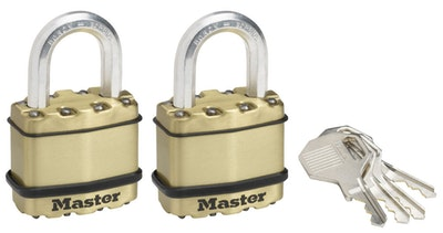 Master Lock M1BEURT 45mm Wide Excell Laminted Steel Padlocks in Brass Finish 2 Pack