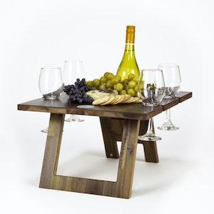 FOLDING WINE TABLE - 4 GLASS HARDWOOD