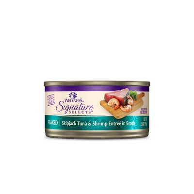 WELLNESS CORE Signature Selects Flaked Skipjack Tuna With Shrimp Entrée in Broth Wet Cat Food 79G
