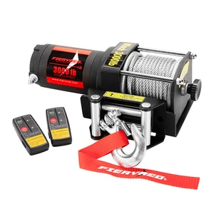 FIERYRED 3000LBS/1361kg Electric Winch Car Steel Cable 12V Wireless Remote 4WD