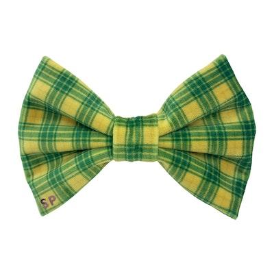 Swanky Paws Yellow Tartan Dog Bow Tie | Australia Day Green Bow
