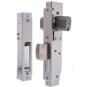 Brava Metro 5091-3 commercial shopfront double cylinder hook bolt dead lock with a 28mm bolt in satin chrome plate finish