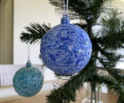 Fiona Adams Artwork Blue/ Aqua Christmas Tree Decorations (set of 2)