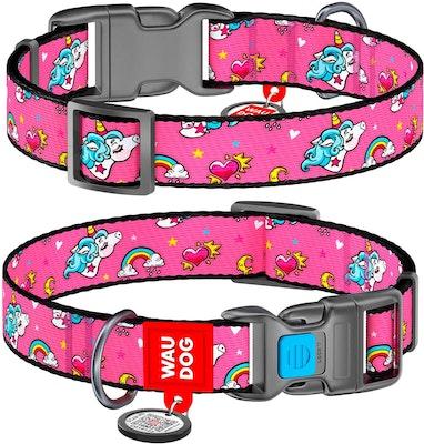 WauDog by the Collar Company WauDog Nylon Dog Collar -Unicorns - Sizes: X-Small, Small, Medium, Large