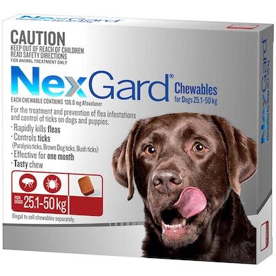 NexGard Extra Large Dogs Tasty Chews Tick & Flea Treatment 25.1-50kg - 2 Sizes