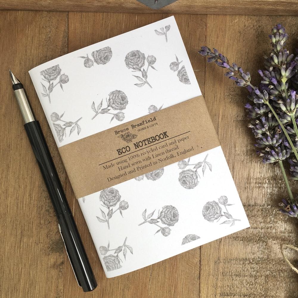 Bruce Bramfield vintage peony eco notebook  (white cover)