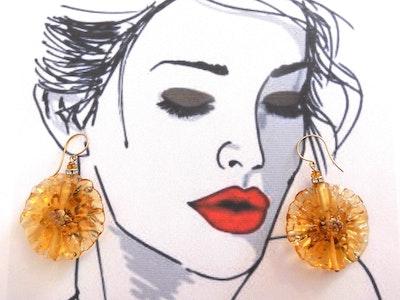 Beadoire Glass Lampwork Glass Earrings   'Fleurs' 2020