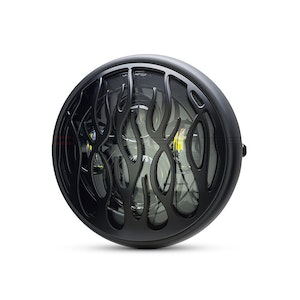 """7.7"""" Multi Projector Headlight with Flame Grill - Matte Black"""