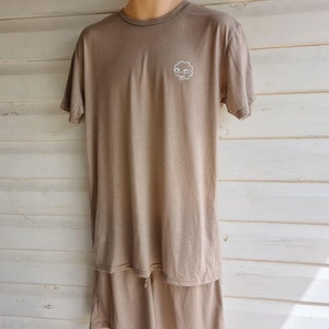 Men's Short Sleeve Pyjama Top   100% Merino Wool Stone