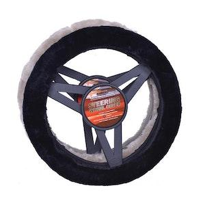 Sheepskin Steering Wheel Cover Luxury - Grey