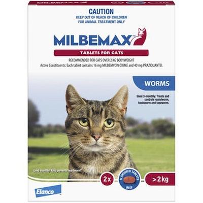 Milbemax Over 2kg Cat Broad Spectrum Allwormer Tablets - 2 Sizes