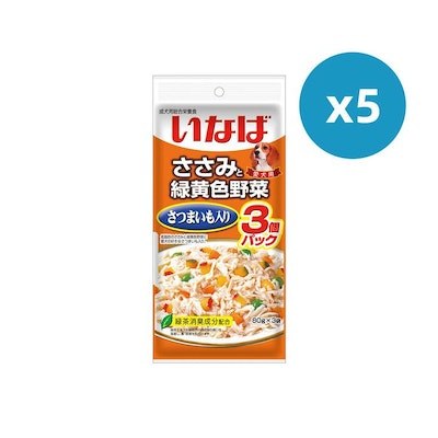 INABA CIAO Pouch For Dog- Chicken Fillet Sweet Potato Vegetables Value Pack 5PK x 60G X 3