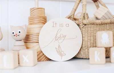 It's a Boy Wooden Announcement Disc