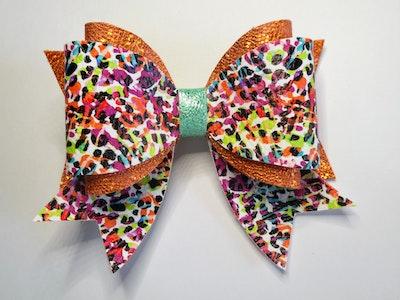Crafty Little Munchkin Orange Coloured Print Multi Layer Bow