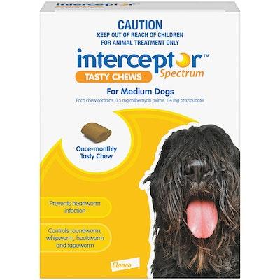 Interceptor Spectrum 11+ Kilos Medium Dogs Tasty Treat Yellow Chew - 2 Sizes