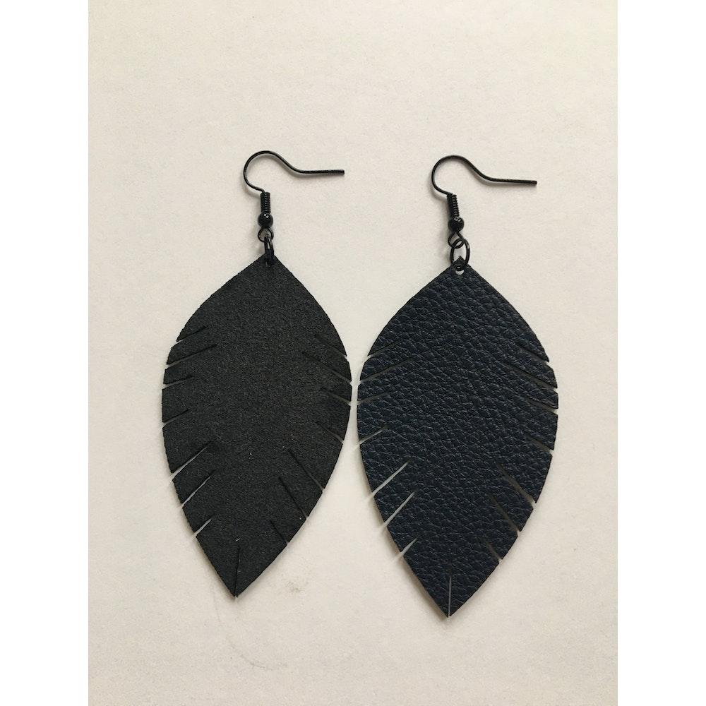 One of a Kind Club Black Leatherette Leaf Earrings