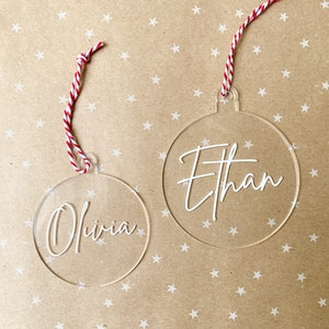 Personalised Clear Bauble Disc - Fancy Font