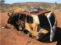Burnt out Prado Canning Stock Route