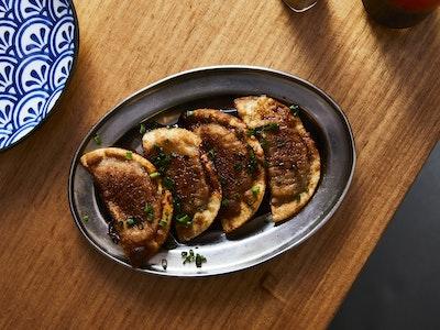 Pork & Kimchi Gyoza w/ Plum Vinaigrette, 4pc