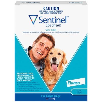 Sentinel Spectrum Large Dogs Flea Treatment Tasty Chews Blue - 2 Sizes