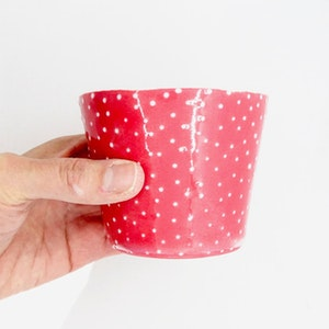 Ceramic Small Cup - Dotty Red