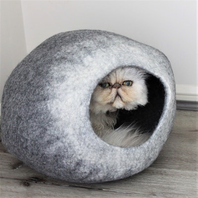"""Queenie's Pawprints Hand-felted Wool Cat Cave """"Grey Ombre Cocoon"""""""