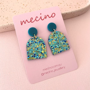 Arch Drops - Sparkly Aqua Party Mix Acrylic Arch Earrings