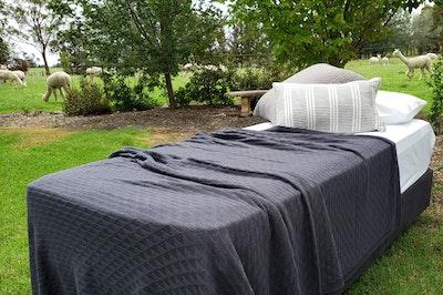 Luxurious Charcoal Alpaca Blanket in triangle pattern
