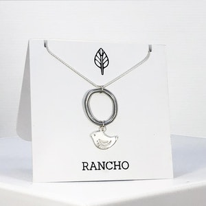 Silver Ring and Silver Bird on Silver Chain Necklace