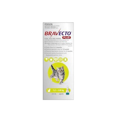 BRAVECTO PLUS Flea, Tick & Worming Treatment 1.2-2.8kg Cat 2 Month Pack