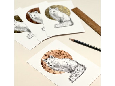 A5 'Fox' Limited Edition Print with Hand-Applied Gold-Leaf Metals.