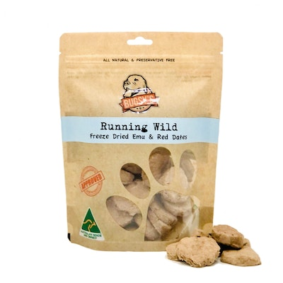 Bugsy's Pet Supplies FUNCTIONAL TREATS | Running Wild (Australian Emu with Red Dates)