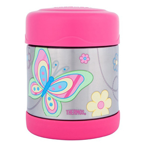 Adorable Gift Design Food Jar Thermos Stainless Steel Kids Butterfly Funtainers If you've got a little social butterfly in the family, send them off for the day with these adorable funtainers. Choose the drinks bottle or food jar and fill with their favourite things, and they'll stay warm for 7 hours or cold for 5. A great alternative to boring lunchboxes. Girls would love to pack this adorable container that has fluttering butterflies in magical colours. Its interior is made from unbreakable stainless steel. Fitted with Thermax double wall insulation, it is built for maximum temperature retention, to keep hot things hot and cold things cold. No need to worry about spills and messes, as it comes with an extra wide mouth and is easy to clean. Buy one of these unique Thermos Stainless Steel Kids Butterfly Funtainers, Thermos Funtainer Bottle and bring a whole new twist to regular containers. It spells fun all the way and it is available in both food jar and drink bottle versions.