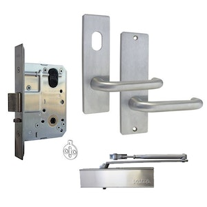 Kaba MS2 Office Full Door Furniture Lock Kit with 600 Series Square End Plates and Closer