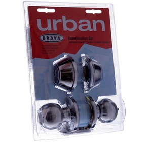 Brava Urban BRT3332DP combination door entrance knob set and dead bolt in polished stainless steel finish