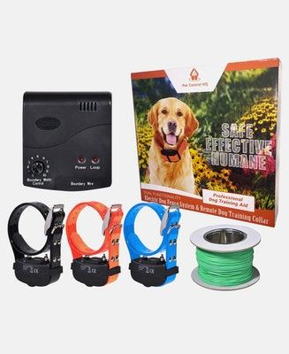 Pet Control HQ Waterproof Rechargeable Deluxe Electric Dog Fence System 3 Collars