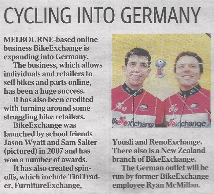 Cycling into Germany Herald Sun28.11.2013
