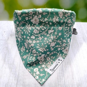 """Queenie's Pawprints Eco Bandana or Neckerchief """"Spring Meadows"""" - Through collar fit"""